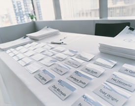 conference name tags on a table